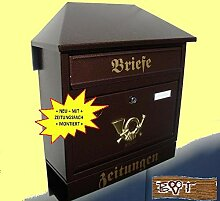 Briefkasten Retro WD groß in kupfer kupferbraun