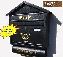 Briefkasten S groß in schwarz anthrazit dunkel