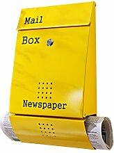 Briefkasten Yellow Post Metall rostfrei Zeitungsfach Design Mailbox gelb