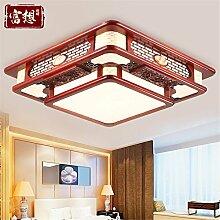 BRIGHTLLT Chinesische Deckenleuchte LED Massivholz Wohnzimmer Lampe leuchten Schlafzimmer minimalistischen antiken Studie Beleuchtung, 560 mm Restauran