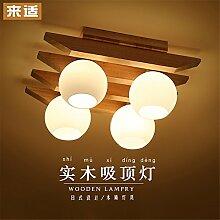 BRIGHTLLT Deckenlampe Einfache japanische LED Neue chinesische moderne Wohnzimmerlampe Hölzerne Lampe Schlafzimmerlampe Massivholzlampe, 490 * 380 * H210mm