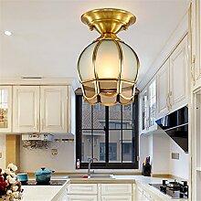 BRIGHTLLT Deckenlampe voll Kupfer Lampe europäischen Gang LED American Balkon Korridor einfache Eingangslampen, 150 * H220mm