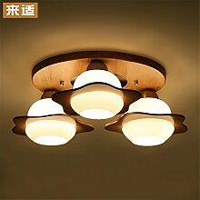 BRIGHTLLT Deckenleuchte Creative Massivholz Einfache Niedliche Kinder Raumlampe Wohnzimmer Lampe Schlafzimmerlampe Holzlampe LED Tageslicht, 520 * H160mm