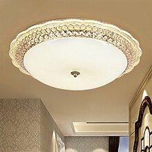 BRIGHTLLT LED runde Kristall Wohnzimmer Lampe Deckenleuchten Warm Raum Lampen Moderne einfache Bookroom Beleuchtung einstellbar, 380mm