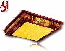BRIGHTLLT Moderne chinesische Deckenleuchte LED Massivholz Wohnzimmer Lampe leuchten Klassische Schlafzimmer Studie Pergament Lampen, 550 mm