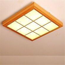 BRIGHTLLT Slimline LED Deckenleuchte japanische Licht Balkon Schlafzimmer Massivholz Kantholz Schlafzimmer electrodeless dimmen Fernbedienung, 510mm Lampe