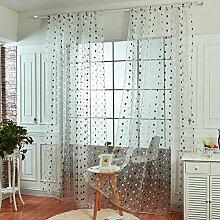 Brightup Braun / Schwarze Punkte Gestickte Bloße Vorhang Verkleidung 1xFlocking Tür-Fenster-Vorhang