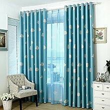 Brightup Fenster Wohnzimmer Vorhang Voile Vorhang Pastoral Drapes Blackout Stoff Wolken 250*95cm