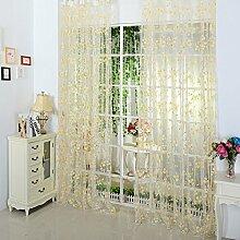 Brightup Floral Schal Sheer Voile Tür Fenster Vorhang Drape Panel Divider Tulle Valances