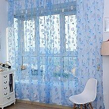 Brightup Rose Blume Zimmer Tür Fenster Voile Vorhang Drape Sheer Divider Schal Valance