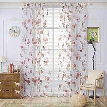 Brightup Rose Gedruckt Burnt-out Voile Vorhänge 100 X 200CM String Tür Vorhang Tür Fenster Zimmer Divider Quaste Haus Warming