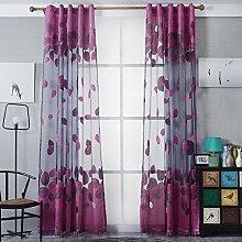 Brightup Vorhänge mit Ösen , Blumen Druck, Wohnzimmer,100 x 250cm