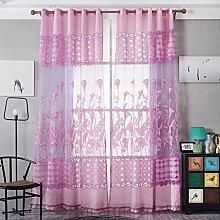 Brightup Vorhang Garn für Schlafzimmer Gardine Tulle,Vorhang mit Ösen Gardine Voile