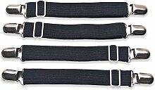 Brillante Zukunft 4x Schwarz Einstellbare Bett Eckhalter Blechbänder Befestigungsteile Greifer Clips Träger Bänder Elastikband Metall Clips Matratze Eckbänder.