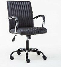 Brilliant firm Schreibtischstühle Hohe Qualität PU Leder Riemenscheibe Drehstuhl Stahl Halterung Home Office Stuhl 48 * 48 * 99 cm (Color : Black)