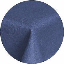 Brilliant Tafeldecke - Rund 160 cm Farbe wählbar - Dunkelblau Blau Tischdecke UNI Einfarbig mit Lotus Effek