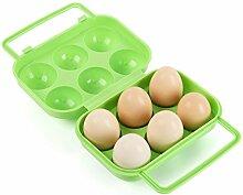 BrilliantDay Eier Aufbewahrungsbox Eierbehälter Vorratsdose Fach Multi in Kühlschrank Outdoor Picknick Camping Farbe Zufällig LianLe (Grün, 6 Fach)