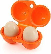 BrilliantDay Eier Aufbewahrungsbox Eierbehälter Vorratsdose Fach Multi in Kühlschrank Outdoor Picknick Camping Farbe Zufällig LianLe (Orange, 2 Fach)