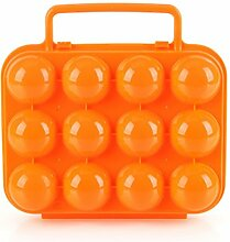 BrilliantDay Eier Aufbewahrungsbox Eierbehälter Vorratsdose Fach Multi in Kühlschrank Outdoor Picknick Camping Farbe Zufällig LianLe (Orange, 12 Fach)