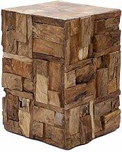 Brillibrum Design Beistelltisch aus Echtholz Stücken Couchtisch Treibholz Quadratisch Holz-Block Hocker Unikat Nachttisch Blumen-Hocker 45cm Robus