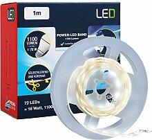 Briloner Leuchten - 1m Power LED Band inkl. Schalter, 1100 Lumen (entspricht 100 W Glühbirne), 6500 Kelvin, Licht: kalt weiß, Selbstklebend, 16 Wa