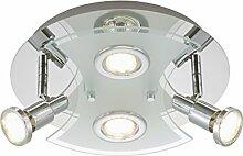 Briloner Leuchten 2159-048LM A+, Deckenleuchte, Deckenlampe, LED Strahler, Spots, Wohnzimmerlampe, Metall,  3 W, Chrom, 30 x 30 x 11 cm