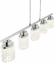 Briloner Leuchten LED Pendelleuchte, Hängelampe, Hängeleuchte, Wohnzimmerlampe, Pendel, Esszimmerlampe, Esstischlampe, Pendellampe, Esstischleuchte, Wohnzimmerleuchte mit klarem Kristallbehang, 5x LED  5 W, 5 x 400 lm, energiesparend, chrom