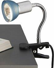Briloner Leuchten Steckerleuchte, Steckerlampe, Klemmleuchte, 1 x GU10, 35 Watt, 220 Lumen, dimmbar, inkl. Zuleitung mit Schnurschalter AN/AUS, Kopf über Flexarm verstellbar, titanfarbig-blau, 2973-010P