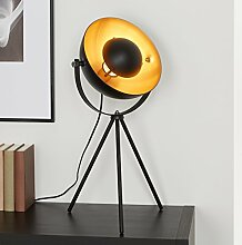 Briloner Leuchten Tischlampe Dreibein / Tripod; Metall, Retro-Lampe Schwarz & Gold, Vintage-Dekoration Wohnzimmer, Studio-Stehleuchte max. 60 W, E27