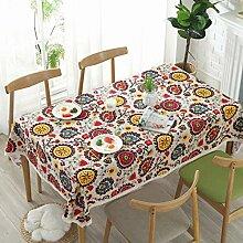 Bringsine Vintage-Tischdecke, Leinen, rechteckig,
