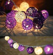 Brinny Weihnachten Innen Außen 35LED Kugel Rattan Lichterkette String Lights für Hochzeit, Weihnachten, Party, Heim-Dekoration ,Stecker Art(Lila)