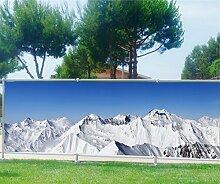 Brise Vue bedruckt, Garten, Terrasse, Balkon Deko Die Alpen, 100%, 300x117cm