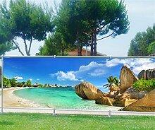Brise Vue bedruckt, Garten, Terrasse, Balkon Deko Karibik, 100%, 250x97cm