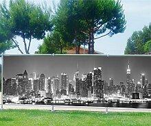 Brise Vue bedruckt, Garten, Terrasse, Balkon Deko New York, 100%, 340x132cm