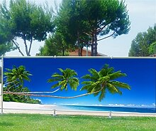 Brise Vue bedruckt, Garten, Terrasse, Balkon Deko Palmen Strand, 100%, 300x117cm