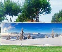 Brise Vue bedruckt, Garten, Terrasse, Balkon Deko Schnee, 100%, 340x132cm