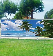 Brise Vue Deko Palmen Strand den Tropen, 100%, 340x132cm