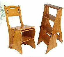 Brisk-- Einfaches Zuhause Klappstühle Doppelnutzen Massivholz Tritt Hocker Innen Vier Schritte Leiter Stuhl Multifunktion Treppenhocker Kiefer Bewegen Tritt Hocker ( Farbe : Yellow peach , größe : 4 layers )
