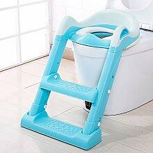 Brisk- Kindertoilette Baby-WC-Leiter Kindertoilettensitz Baby-WC Bettpfanne Urinal ( Farbe : Blau )