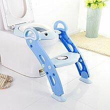 Brisk- Kindertoilette Toilleten Sitz Baby-WC-Leiter Kindertoilettensitz Kinderzimmer Toilette ( Farbe : Blau )