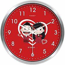 Brisk-Wanduhr Kreative Hochzeit Wanduhr Uhren und Uhren Home Decoration Schlafzimmer Cartoon Cute Quiet Quarz Uhr ( farbe : Silber Border , größe : 14 Inches )