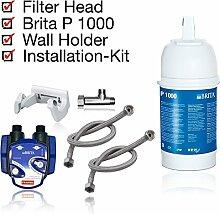 BRITA Untertisch-Wasserfilter Installationskit: Filterkartusche BRITA P1000, Filterkopf, Kartuschenwechselanzeige, Schläuche, Eckventiladapter.