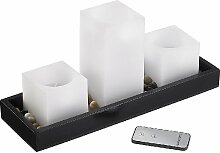 Britesta Flammenlose Wachs-Kerzen: Feng-Shui-Dekoration: LED-Echtwachskerzen auf Holztablett (LED-Echtwachskerzen mit LED Flammen)
