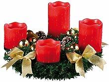 Britesta Künstlicher Adventskranz: Adventskranz mit roten LED-Kerzen, goldfarben geschmückt (Weihnacht Dekoration Kerzen-Kranz, künstlich)