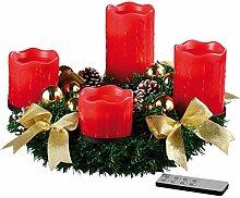 Britesta Künstlicher Adventskranz: Adventskranz mit roten LED-Kerzen, goldfarben geschmückt (Künstliche Weihnacht Dekoration Kerzen-Kranz)