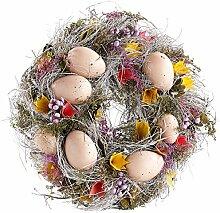 Britesta Oster Dekokränze: Osterkranz mit hellbraunen Ostereiern und gelben Blüten, Ø 23 cm (Frühlings Dekoration Kränze)