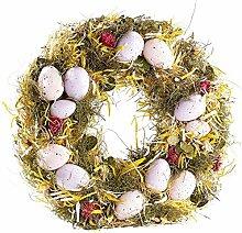 Britesta Osterdekoration Kränze: Osterkranz mit rosa- und fliederfarbenen Eiern, gelbem Stroh, Ø 34 cm (Eierkränze)
