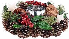 Britesta Weihnachtsgesteck: Handgefertigtes Weihnachts- & Adventsgesteck mit Teelicht-Halter, 23cm (Gesteck für fröhliche Weihnachten)