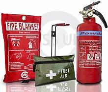 Britischen Standard Gütesiegel FSS UK 600g ABC Dry Powder Feuerlöscher mit CE Fire Decke + 42PCS First Aid Kit. Ideal für Boote Häuser Küche Arbeitsplatz Büros Lagerhallen Garagen Hotels Restaurants