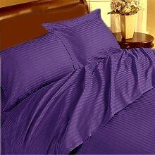 British Wahl 1Stück Spannbetttuch + 2Stück Kissen Schutzhülle Premium 350TC lila Stripe Euro Super King Size 100% ägyptische Baumwolle extra tief Tasche (10Zoll)–von TRP Blatt–B20